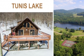 TUNIS LAKE Catskill ALTA LOG Home - PRIVATE-- 5 BEDROOM Tunis Lake Home