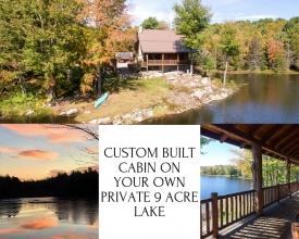 LAKEFRONT CUSTOM BUILT CABIN ON 259 ACRES - Self Sustainable Living!